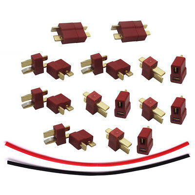 10 pairs Deans T Plug Connector Male Female & Heat Shrink for DIY RC Battery ESC