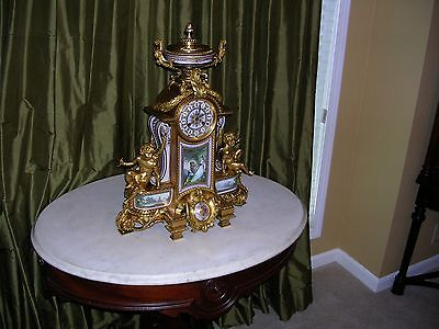 very large antique french dore bronze ,sevres plaques mantle clock