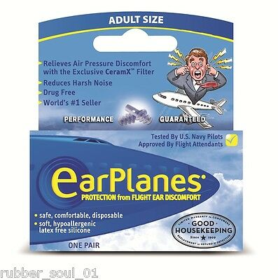 Cirrus Healthcare EarPlanes Adult Earplugs - 1 Pair (FREE UK P&P)