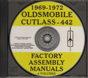OLDSMOBILE 1969, 1970, 1971 & 1972 Cutlass & 442 Factory Assembly Manual CD