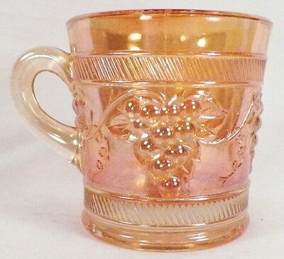 Vintage Banded Marigold Carnival Glass Mug Dugan Grapes Diagonal Bands PRETTY