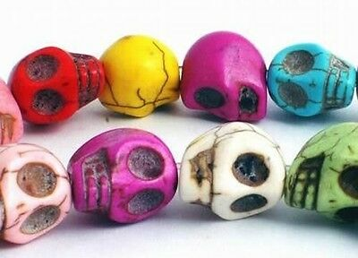 20 x Large Turquoise Mix Coloured Skull Beads - 18mm ~ lady-muck1