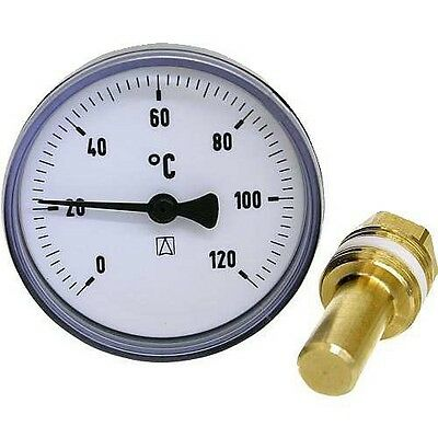 "Heizung Bimetall Thermometer Afriso 63 mm, mit Tauchhülse 40mm DN 1/2"" 0 - 120°C"