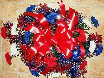 Red White Royal Blue Americana Carnation Cemetery Grave Headstone Pillow Spray