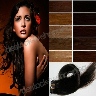 Extensions De Cheveux A Clip 100% Naturel Rémy Hair 41 Cm ,8 Bandes, 18 Clips