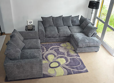 Dylan Jumbo Cord Grey Fabric Corner + 3 Seater (Left or Right Corner Available)