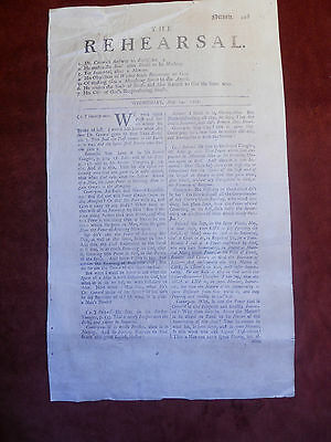 Rare, Antique, 305 year old 1707 Newspaper from  London entitled Rehearsal