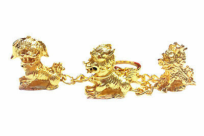 Feng Shui Three Celestial Guardians Amulet Keychain charm or handbag hanging