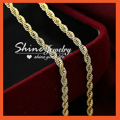 9K YELLOW GOLD GF SOLID MENS LADIES GIRLS 2MM ROPE CHAIN LONG NECKLACE 60cm GIFT