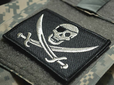 AFSOC COMBAT CONTROL DEATH on CALL TACP VELCRO PATCH: PIRATE CALICO JACK SILVER