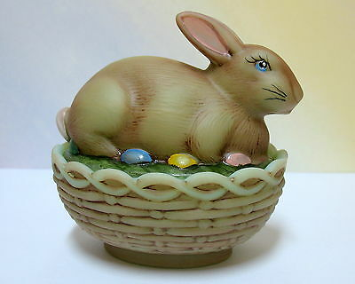 MOSSER  GLASS  JADE ANTIQUED BUNNY  on BASKET BOX w/ PAINTED EGGS ~ NEW