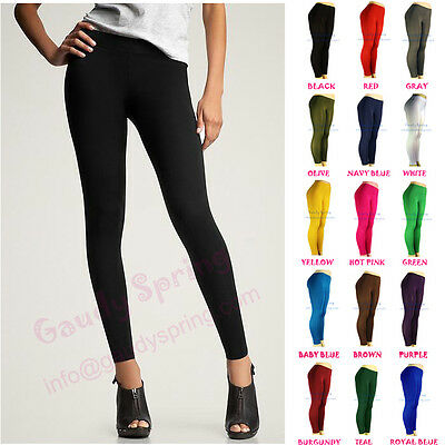 NEW LADIES BASIC ULTRA STRETCH PANTS TIGHTS BLACK FULL LENGTH LEGGINGS XS S M L