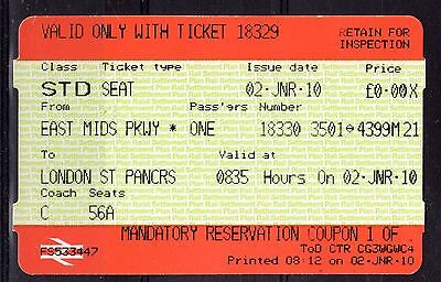 GB = Railway Ticket (Used) - EAST MIDLANDS to LONDON ST. PANCRASS