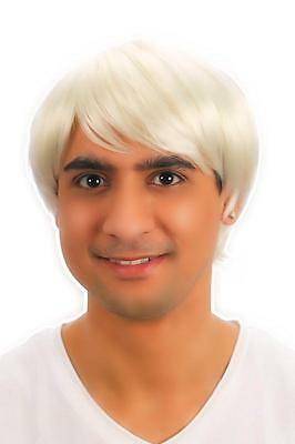 80s 90s Mens Cosplay Blonde Boy Band Pop Star Short Wig Hair Fancy Dress Costume