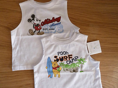 "Disney Baby Boys Summer Tank Tops ""Mickey Mouse"" & ""Winnie the Pooh"" (0-9m) BNWT"