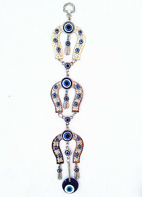 Evil Eye with Horse Shoes Almulet  Hanging or Wall Decoration for Protection