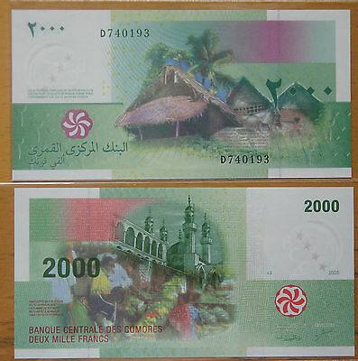 Comoros Paper Money 2000 FRANCS 2005 UNC