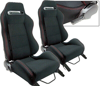 2 PC Black Cloth + Red Stitch Racing Seats RECLINABLE w/ Slider ALL BMW NEW *