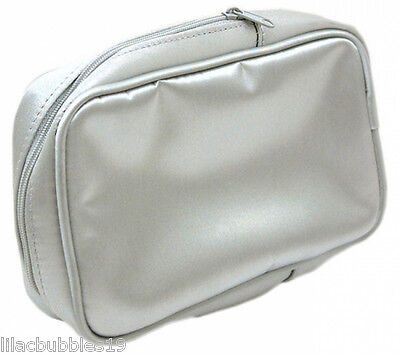 Cosmetic/makeup/toilet Bag Silver Satin By Impulse Ideal For Aerosol Spray Cans