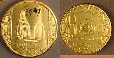 2008 Somalia large Goldplated color 250 shillings-Ancient Egypt-Horus
