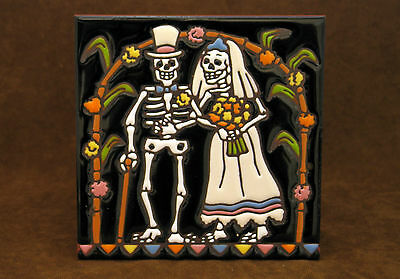 "Day of the Dead Wedding Tile 6""x6"""