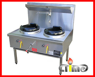 NEW Chinese Wok Stove Waterless Double Ring Stainless Steel Commercial CWS-T2