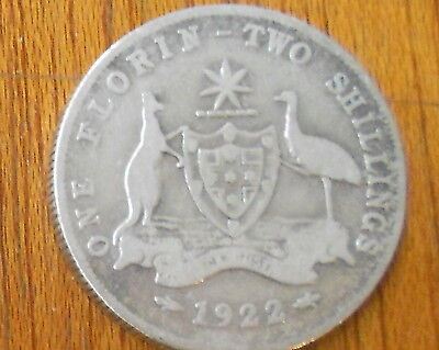 1922 Australian Silver TWO Shilling Florin (TWO BOB) KING GEORGE V  (very Nice)