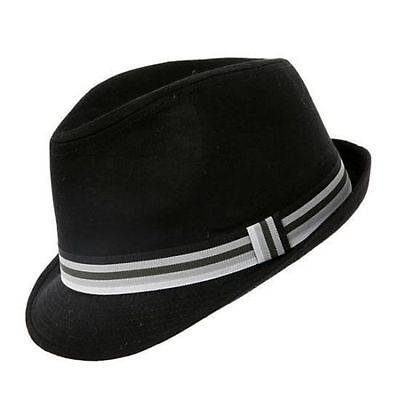 Black Cotton Trilby Hat 5 Sizes With Striped Band Sent Boxed