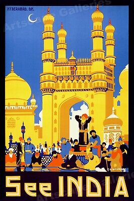 See India 1950's Vintage Style Travel Poster - 16x24