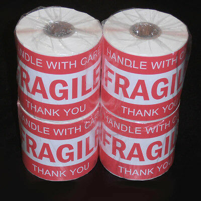1000x Fragile Handle With Care Thank You Adhesive Label 127x76mm Sticker Roll