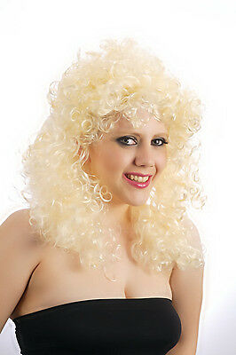 80's Womens Blonde Charlotte Perm Curly Cher Wig Accessory Fancy Dress Costume