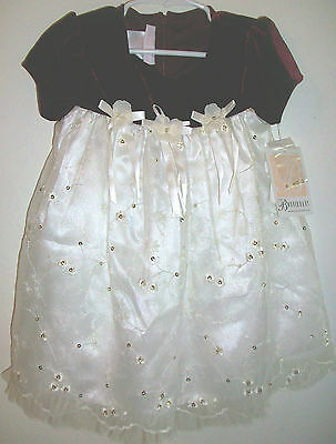 baby girls 24 month christmas dress new nwt fancy burgundy white bonnie sequins