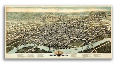 1874 Wilmington Delaware Vintage Old Panoramic City Map - 12x24