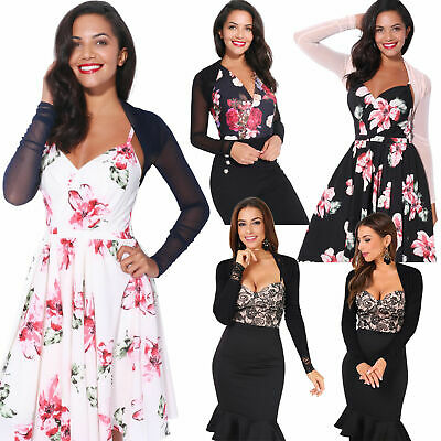 Ruched Shrug Bolero Cardigan Mesh Lace Short Cropped Top Party Evening Prom 7537