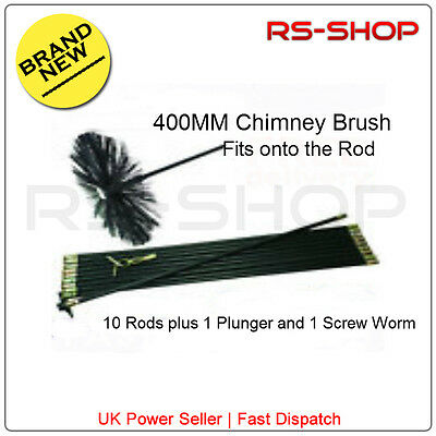 """16"""" 400MM Chimney Flue Sweep Brush & 9M Drain Rod Set + Screw Worm and Plunger"""
