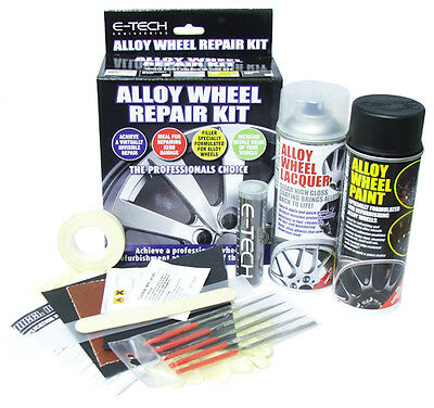 E-Tech Car Alloy Wheel Refurbishment Repair Paint Lacquer Putty Full Kit- Black