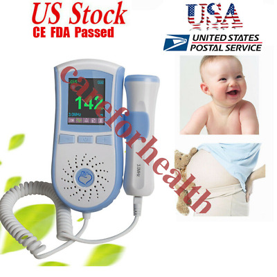 CE/FDA LCD 3MHz Fetal Doppler Fetal Heart Monitor pregant baby heart rate+GEL US