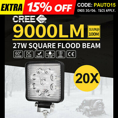 20x 27w LED Work Light Flood Spread Driving Reverse Offroad 4x4 Ute Truck 12/24V