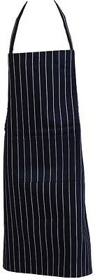 Navy Blue & White Striped 100% Cotton Apron Chefs Butcher Kitchen with Pocket