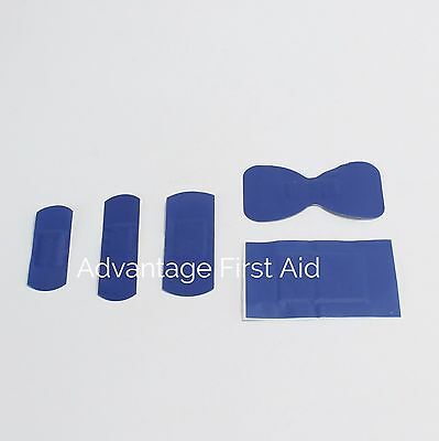 Blue Metal Detectable Catering First Aid Plasters for Food (100) 5 Type Assorted