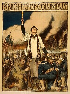 Knights of Columbus 1917 WWI Religous Service Poster - 20x28