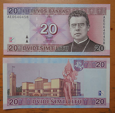 Lithuania Paper Money 20 Litu 2001 UNC