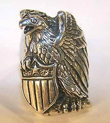 1 deluxe FLYING EAGLE NEW SILVER BIKER RING BR12 mens fashion jewelry EAGLES