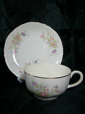 Vintage Edwin M. Knowles Floral Pattern Cup and Saucer With Gold Trim