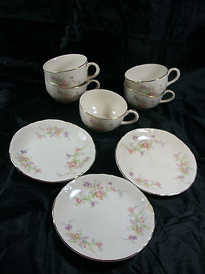 Vintage Edwin M. Knowles Floral Pattern Cups and Saucers With Gold Trim
