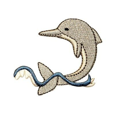 ID 0292 Dolphin Splashing Patch Fish Porpoise Embroidered Iron On Applique