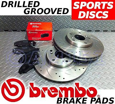 BMW 3 E46 320 323 325 328 Drilled & Grooved VENTED REAR Brake Discs BREMBO Pads