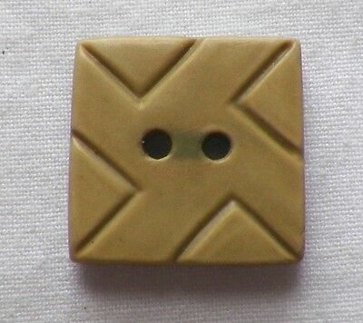 4 Art Deco Moss Green Plastic Buttons Square Carved Triangles 2 Holes NICE