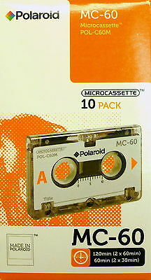 Microcassettes Polaroid MC-60 Brand New Micro Audio Tapes in a Sealed 10 Pk  Box