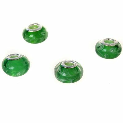20x 152008 Smooth Green Lampwork Glass Big Hole Charm Beads Fit Bracelet 13mm